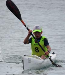 Tom à l'arrivée de l'épreuve surfski
